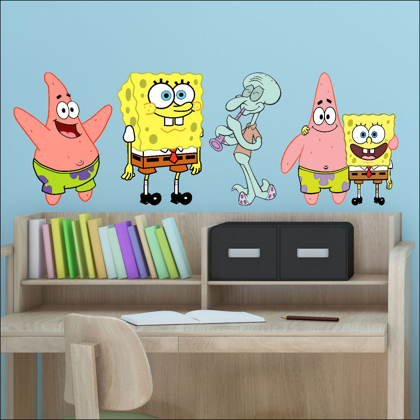 X Spongebob Patrick Squidward Colour Wall Stickers Vinyl - Spongebob wall decals