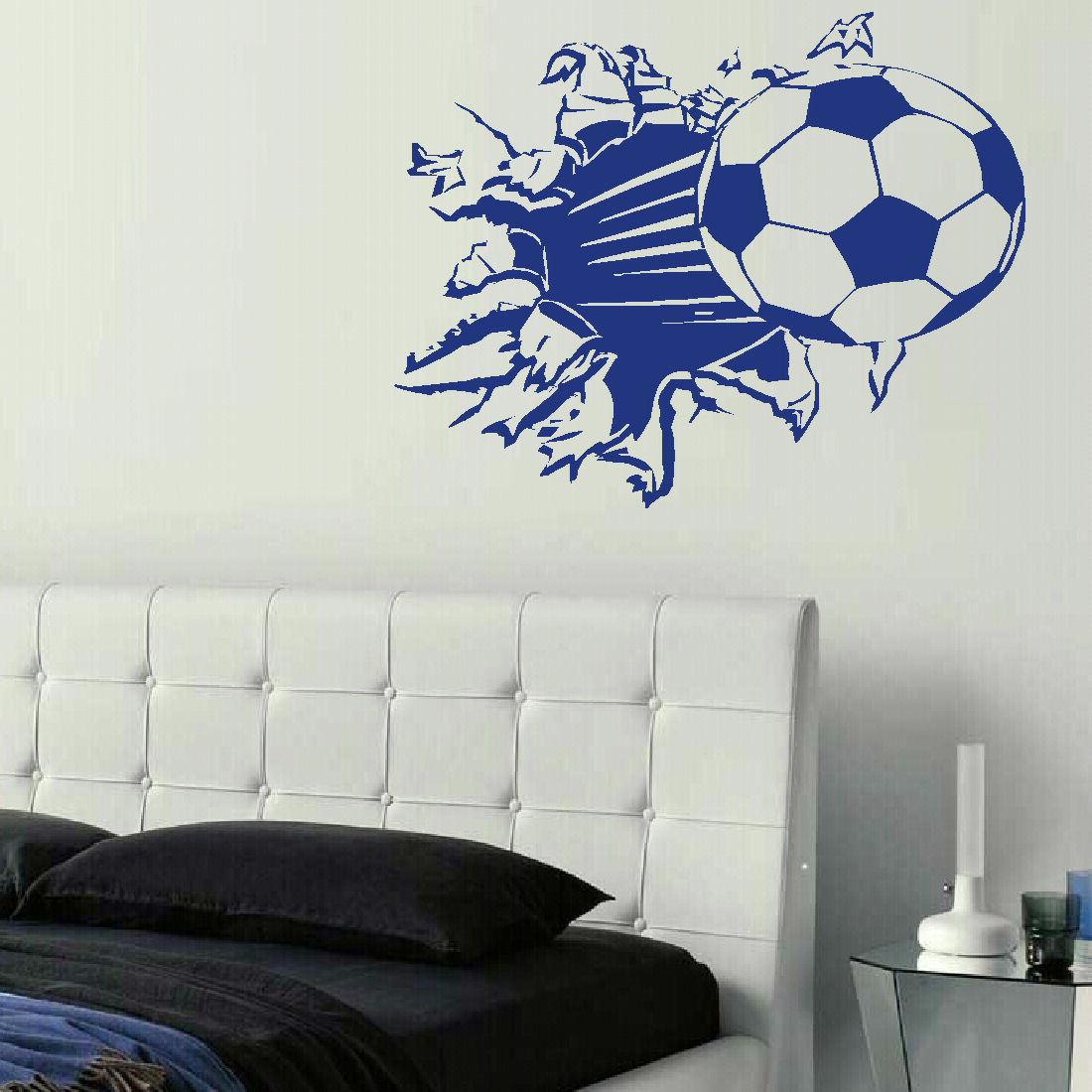 large football ball breaking through wall art sticker matt. Black Bedroom Furniture Sets. Home Design Ideas