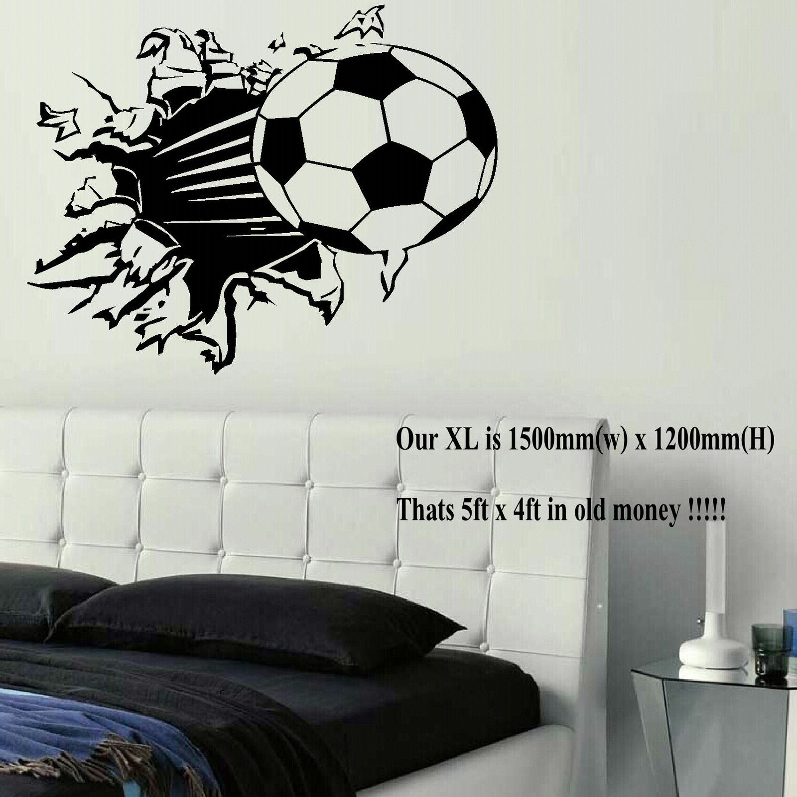 Extra Large Football Ball Wall Art Bedroom Mural Sticker Transfer Poster Decal Bespoke Graphics