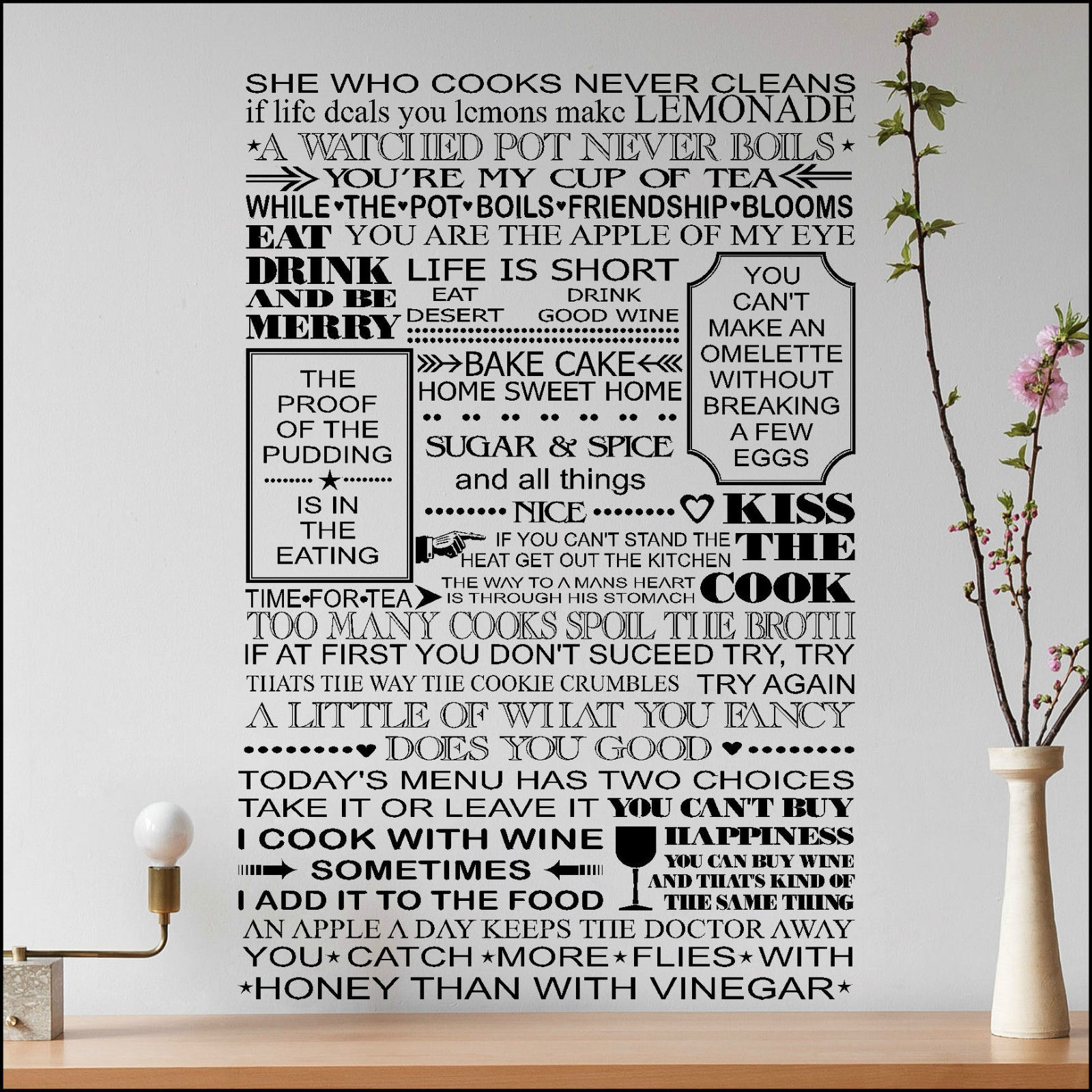 Extra Large Kitchen Wall Sticker Art All Quotes One Place Cut Matt