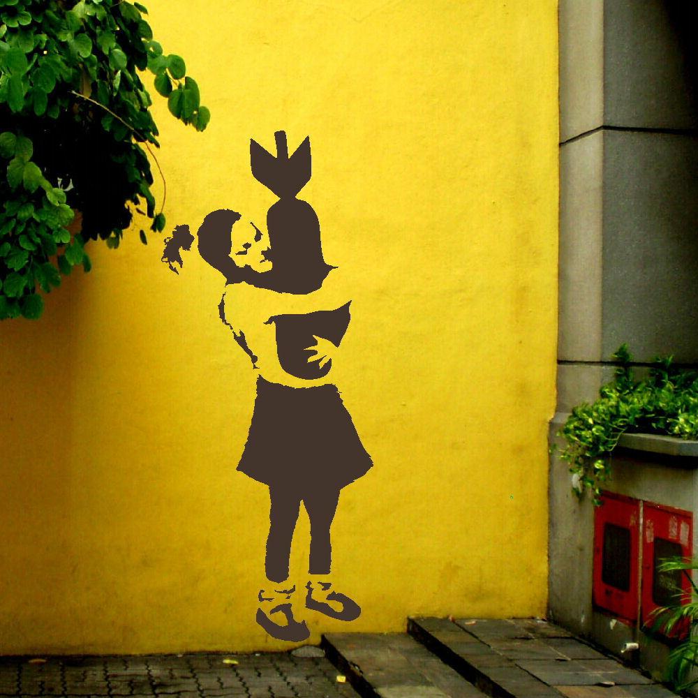LARGE-BANKSY-WALL-STICKER-GIRL-HUGING-BOMB-ART-TRANSFER-201064650171 ...