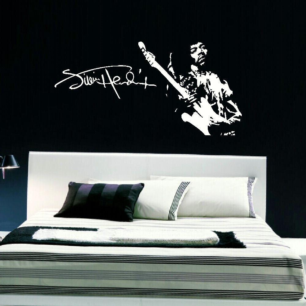 large jimi hendrix wall art sticker in matt vinyl transfer new sizes available bespoke graphics. Black Bedroom Furniture Sets. Home Design Ideas