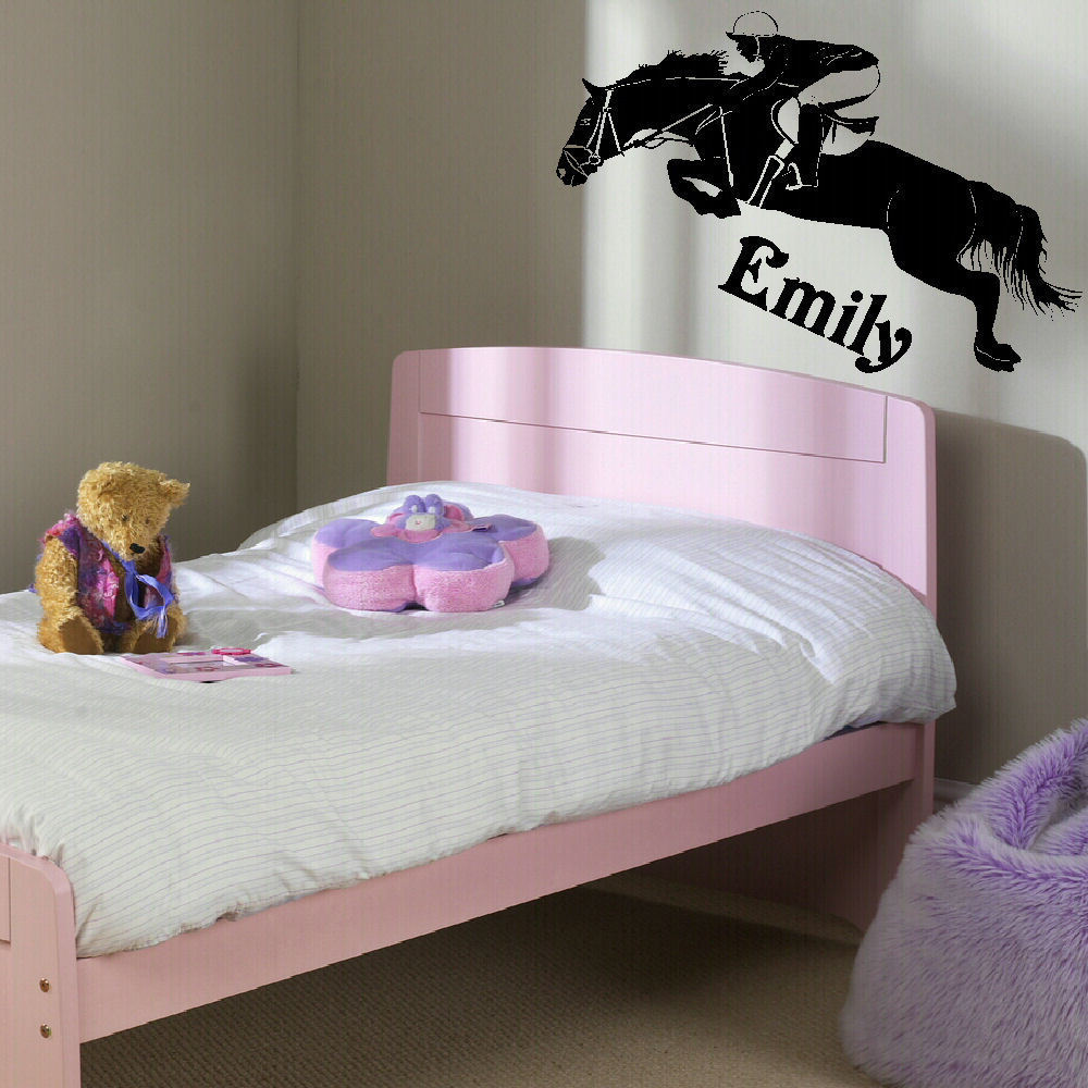 Large personalised horse childrens bedroom wall mural - Childrens bedroom stickers for walls ...