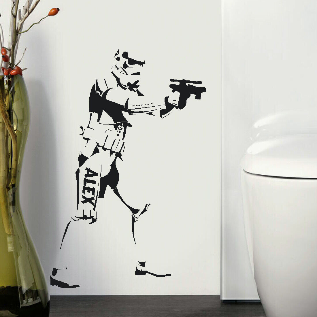 LARGE PERSONALIZED STARWARS STORM TROOPER WALL STICKER NEW ART TRANSFER UK.  Personalized ... Part 78