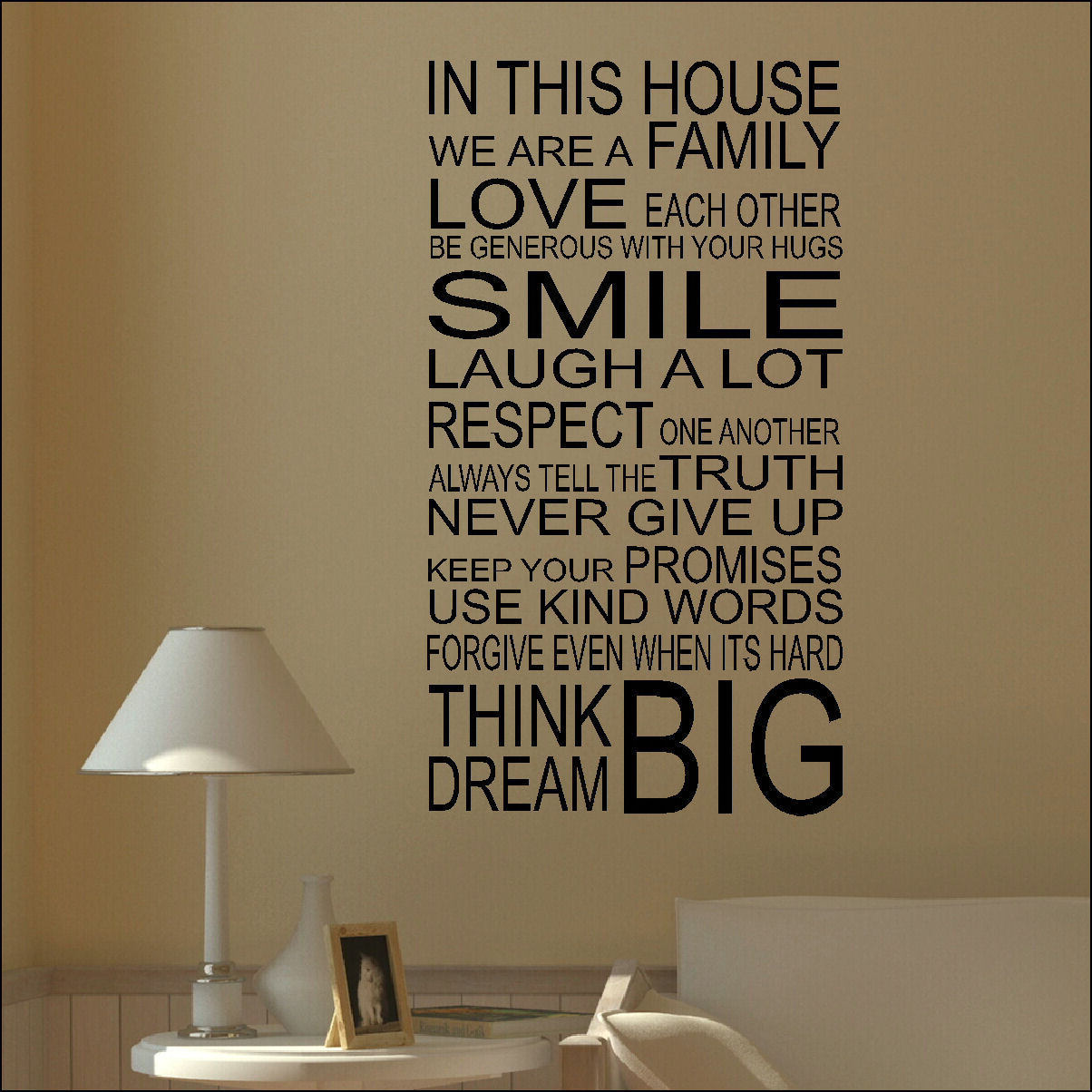 Large Wall Sticker Quote Portrait In This House Smile Love Family