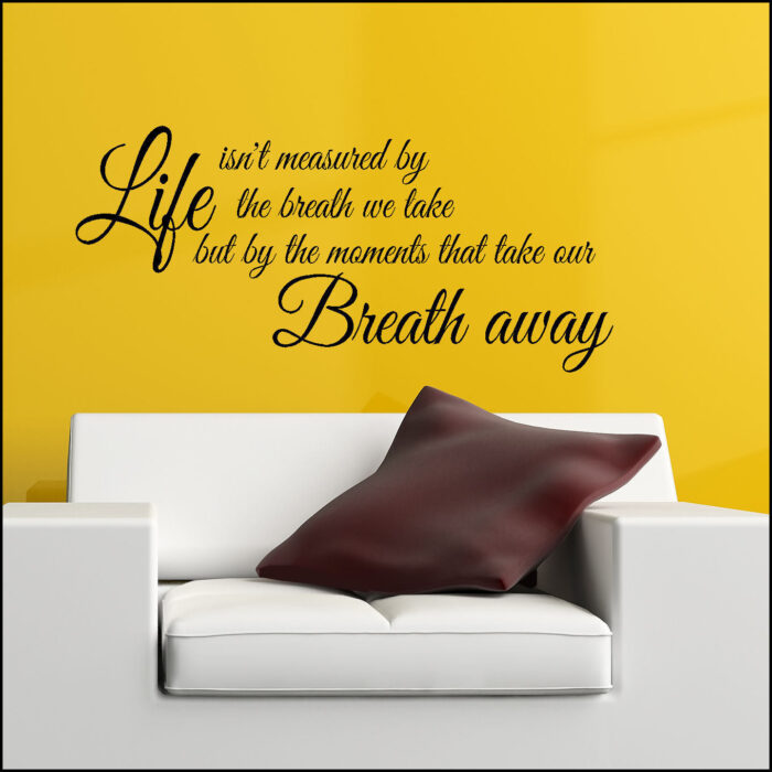 Aerosmith Breathing Quote Vinyl Wall Art Sticker Decal: Quote Life Not Measured Breath Take Away Wall Art Sticker