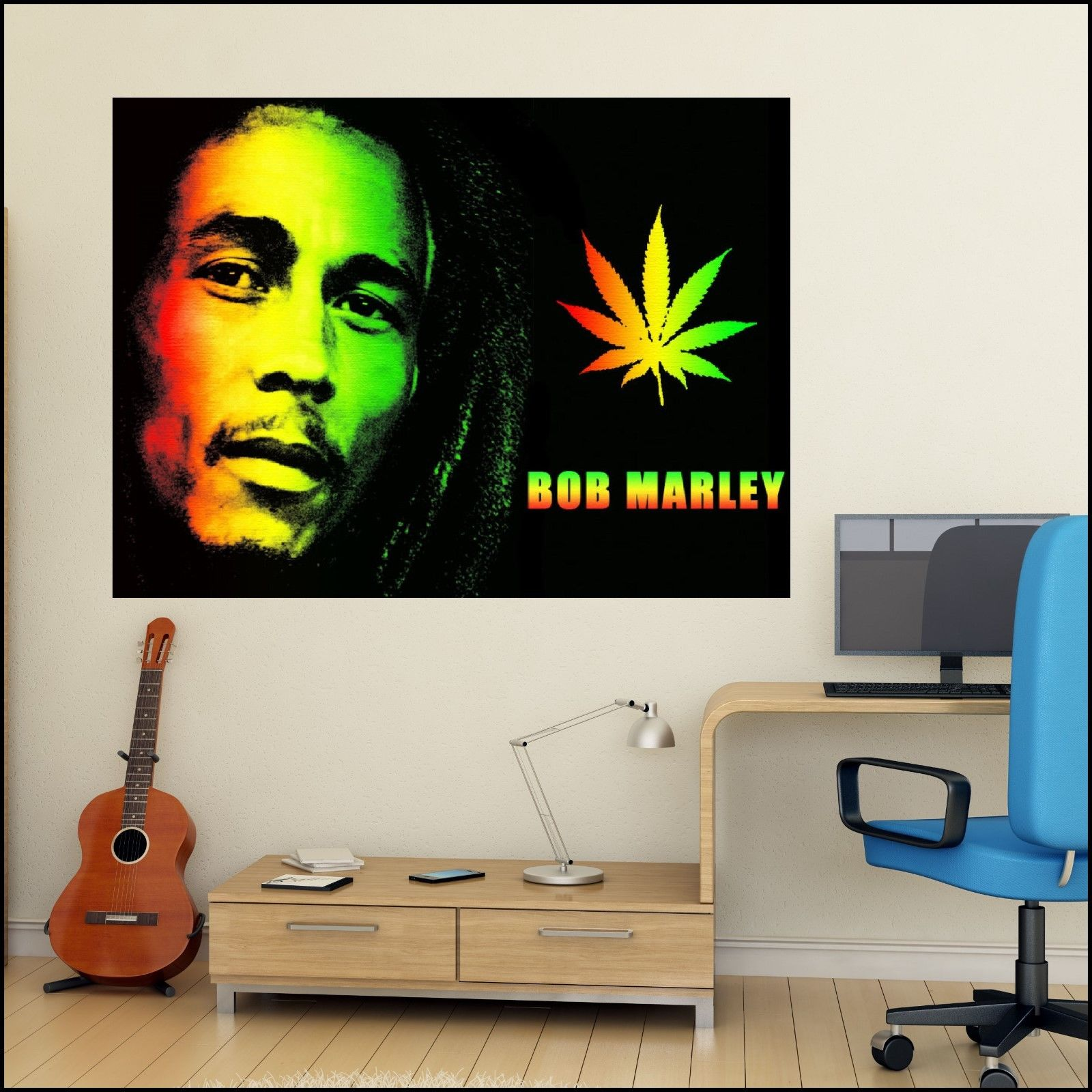 Bob marley colour photo vinyl wall art sticker 6 sizes a4 for Decor mural xxl