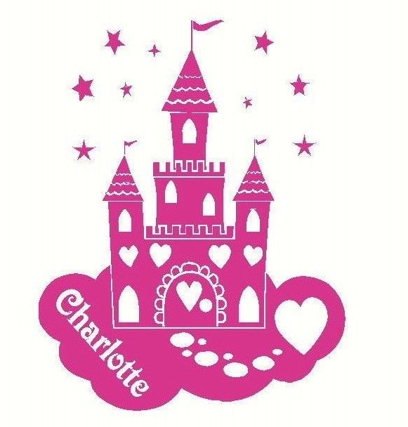 LARGE PERSONALISED DISNEY PRINCESS CASTLE WALL STICKER IN MATT VINYL.  Childrens ... Part 79