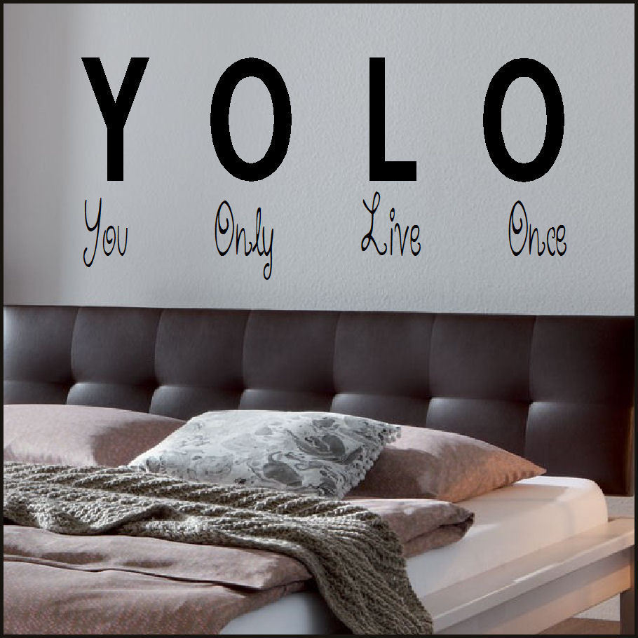 large wall sticker quote you only live once yolo art uk transfer