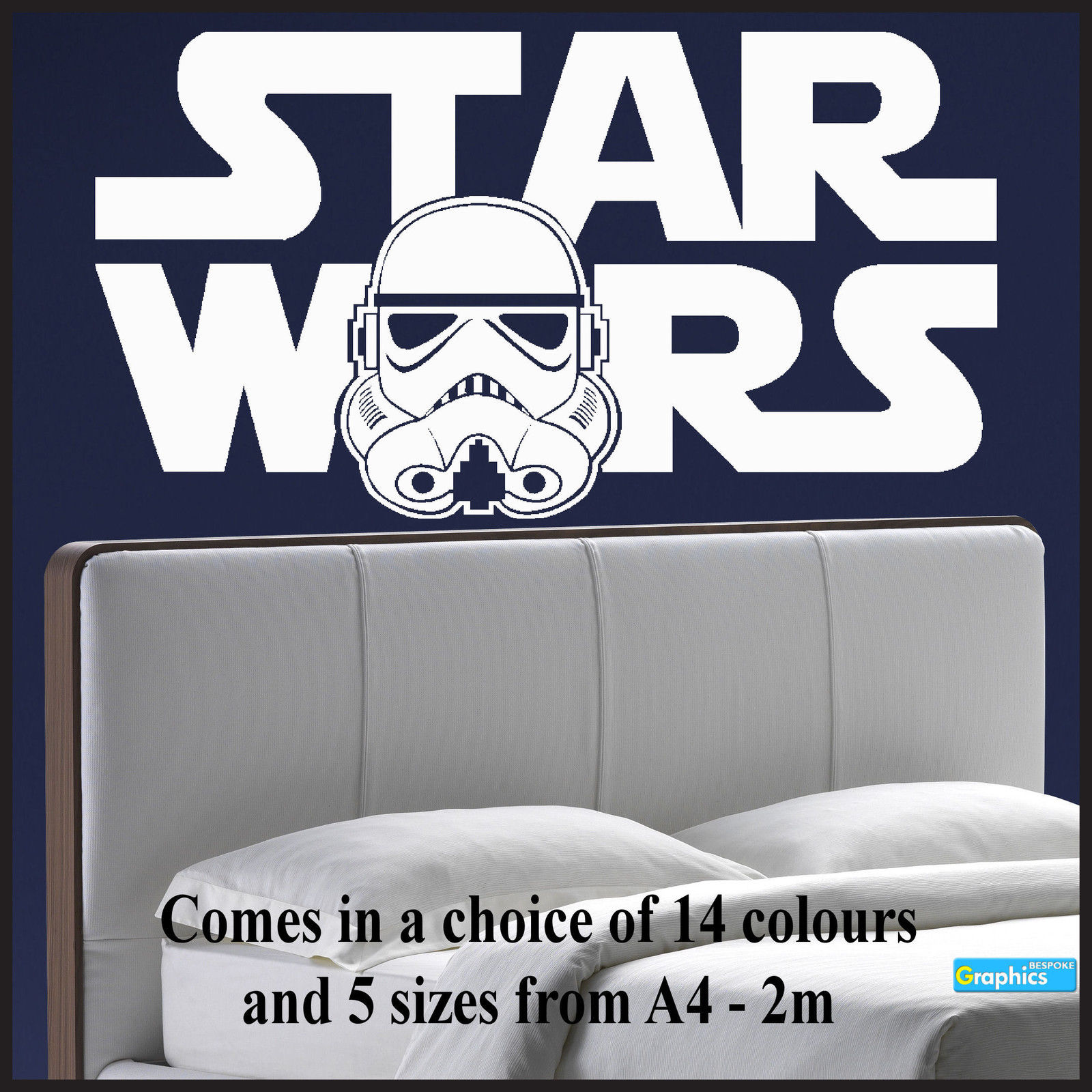 Large Starwars Bedroom Wall Art Sticker Of Logo Stormtrooper Head Transfer  Vinyl. Star ... Part 66