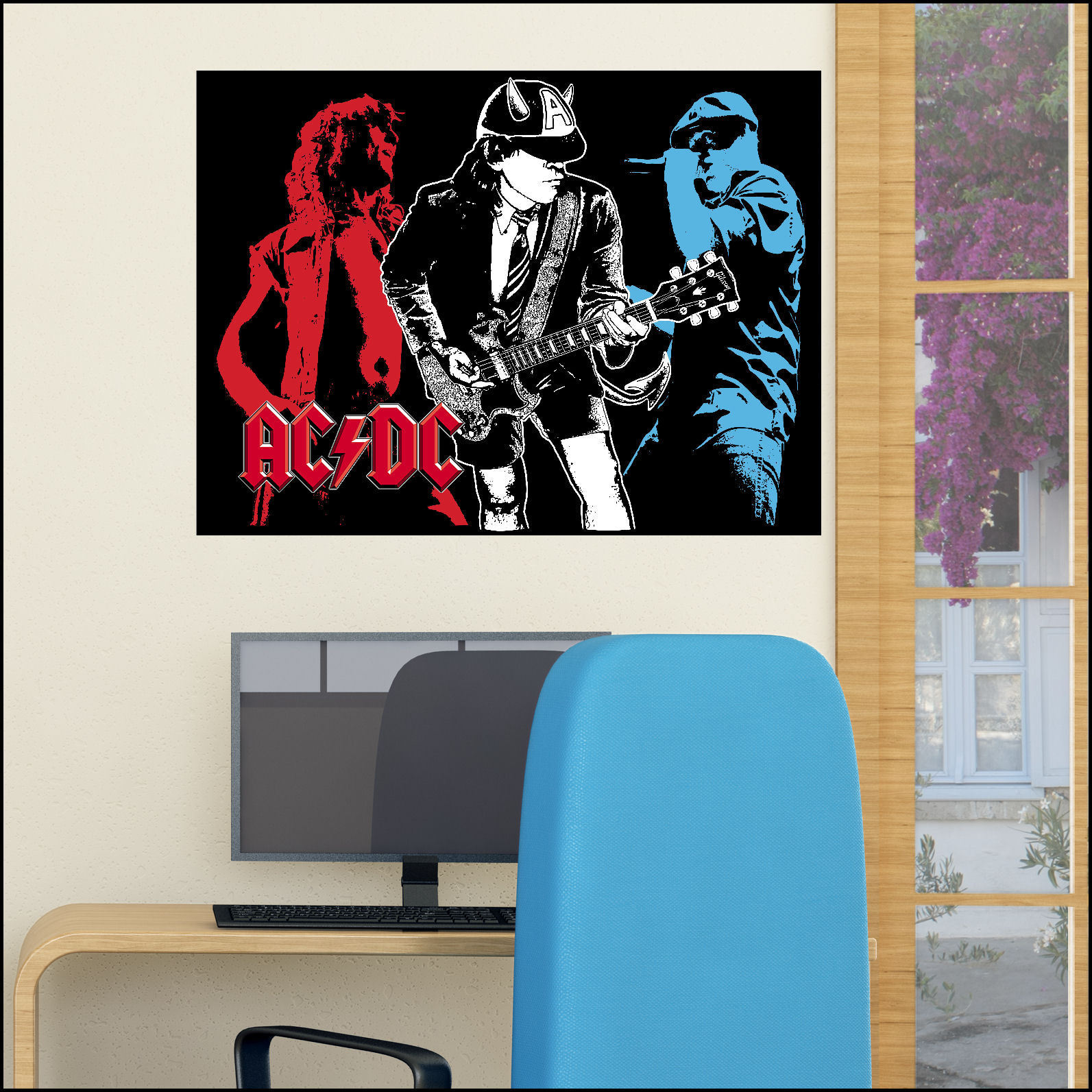 Acdc large wall art sticker ideal for man cave 7 sizes a4 for Decor mural xxl