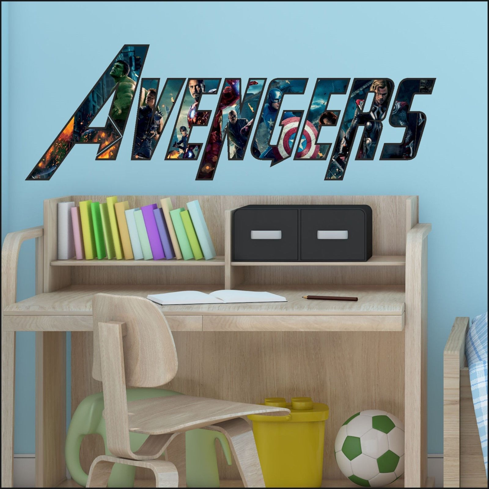 Transfer Stickers For Walls Avengers Wording Logo Colour Print Wall Art Sticker Cut