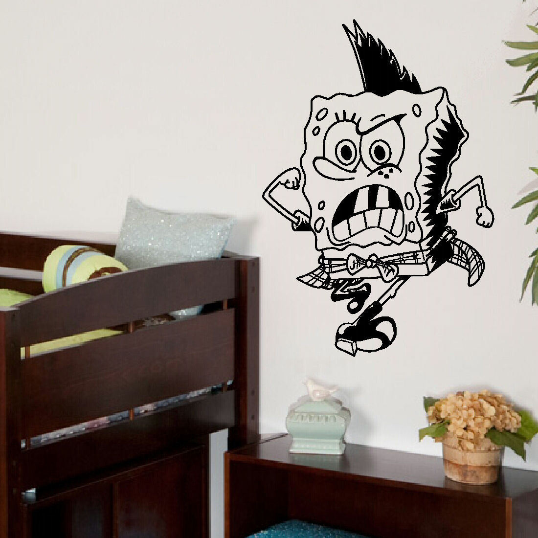 Large spongebob punk child bedroom wall art bedroom mural - Childrens bedroom stickers for walls ...