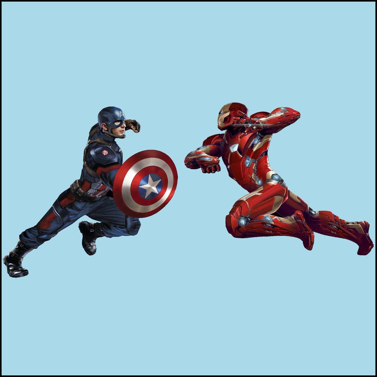 Large Civil War Iron Man Captain America fight scene Wall ...