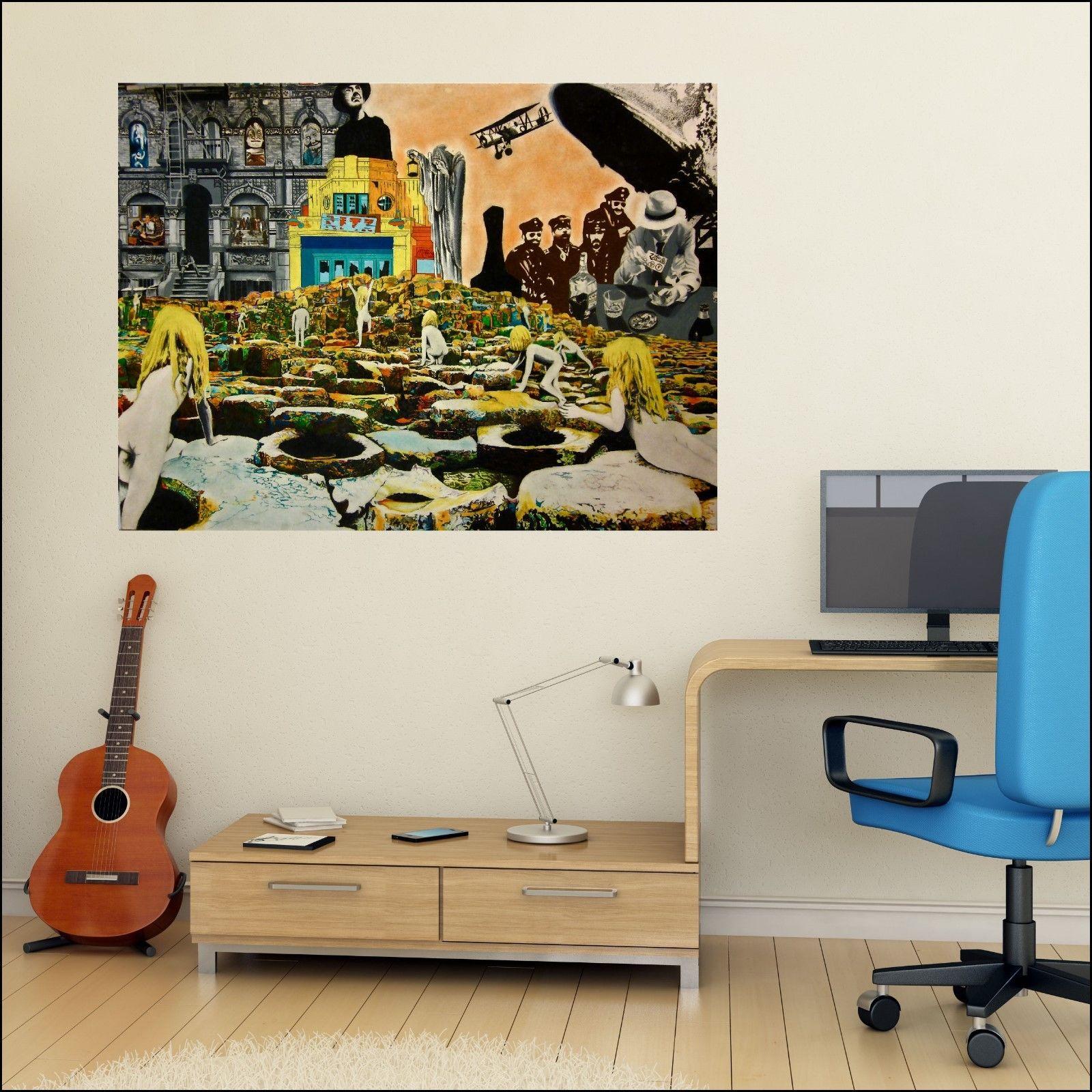 Led zepplin vinyl album art wall sticker man cave mural 7 for Decor mural xxl