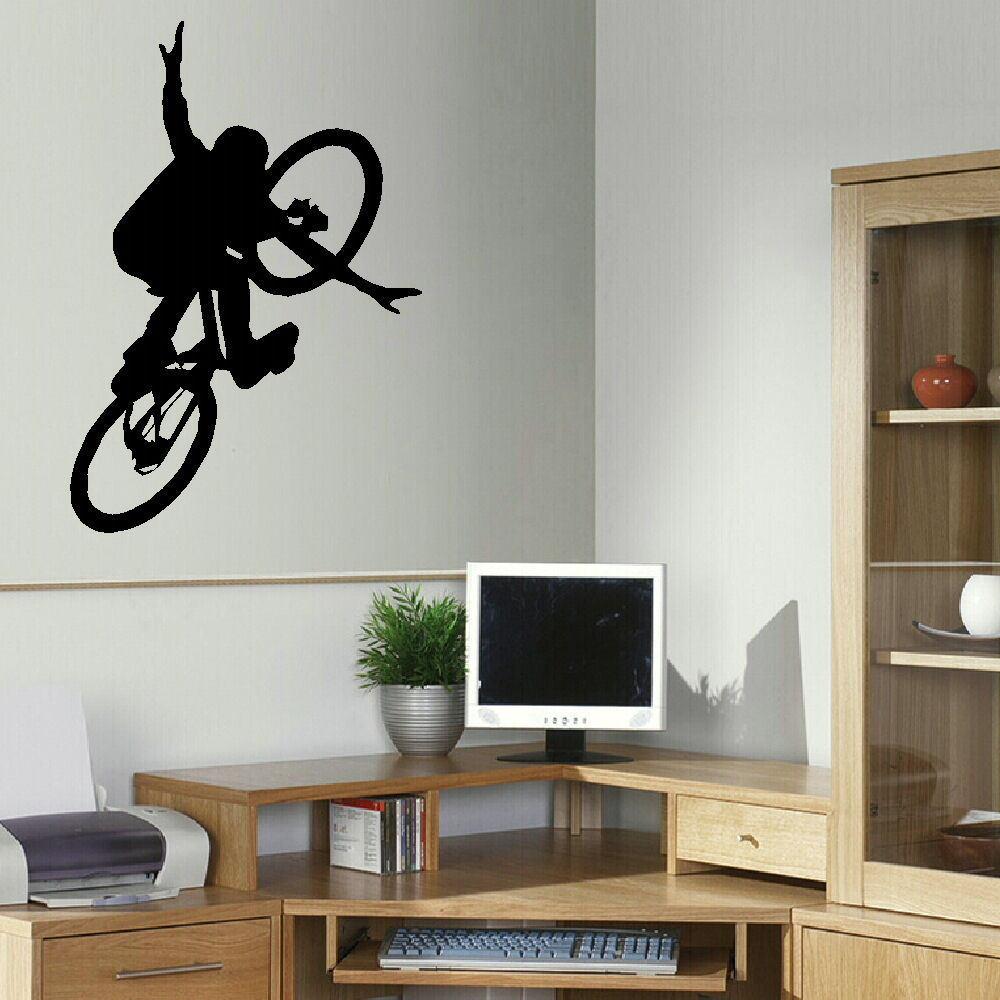Large bmx bike childrens art bedroom wall big mural - Childrens bedroom stickers for walls ...