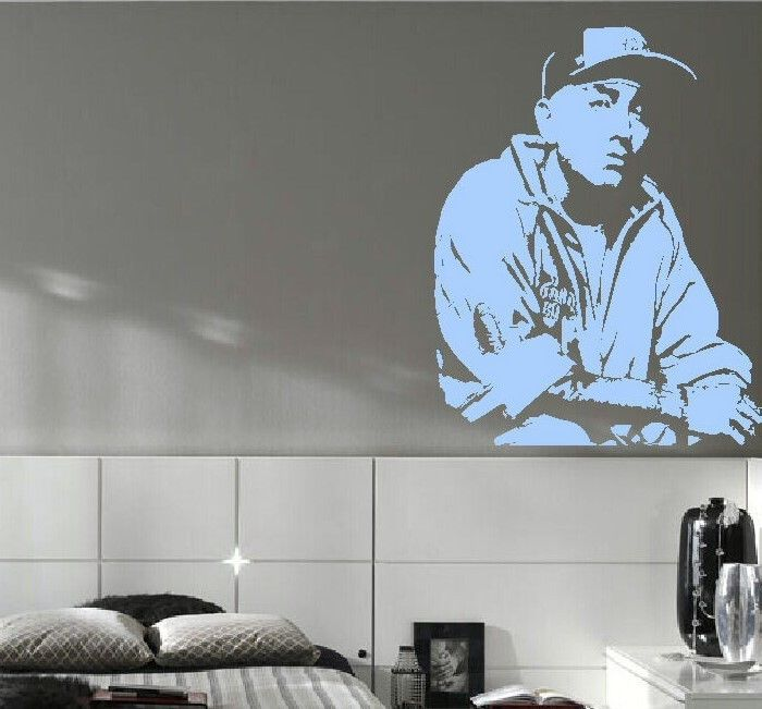 Large eminem bedroom kitchen wall mural art sticker for Large pictures for kitchen walls