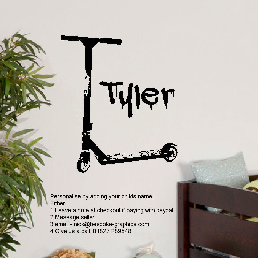 Large personalised stunt scooter wall art sticker transfer poster large personalised stunt scooter wall art sticker transfer poster stencil decal personalized amipublicfo Gallery