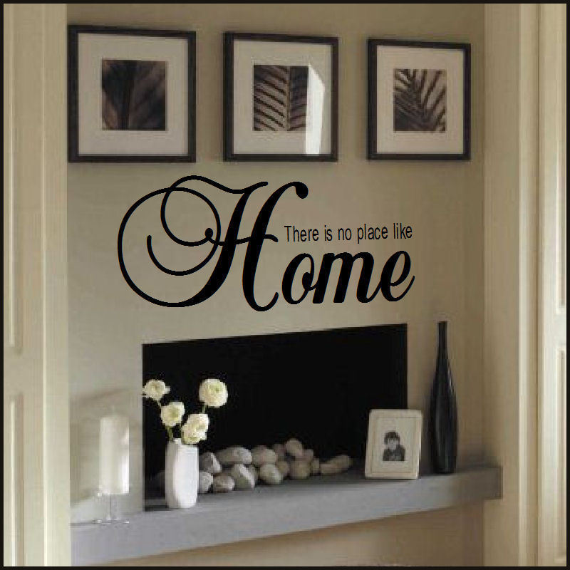 large quote there is no place like home wall sticker new art uk transfer decor bespoke graphics. Black Bedroom Furniture Sets. Home Design Ideas