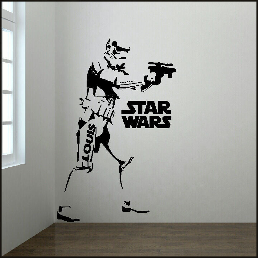 large star wars personalised 6 5 or 4 ft storm trooper wall sticker transfer bespoke graphics. Black Bedroom Furniture Sets. Home Design Ideas