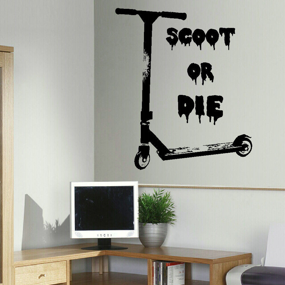 Large wall sticker of stunt scooter scoot or die uk art transfer new amipublicfo Gallery
