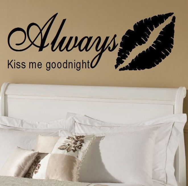 Large Wall Sticker Quote Bedroom Always Kiss Me Goodnight