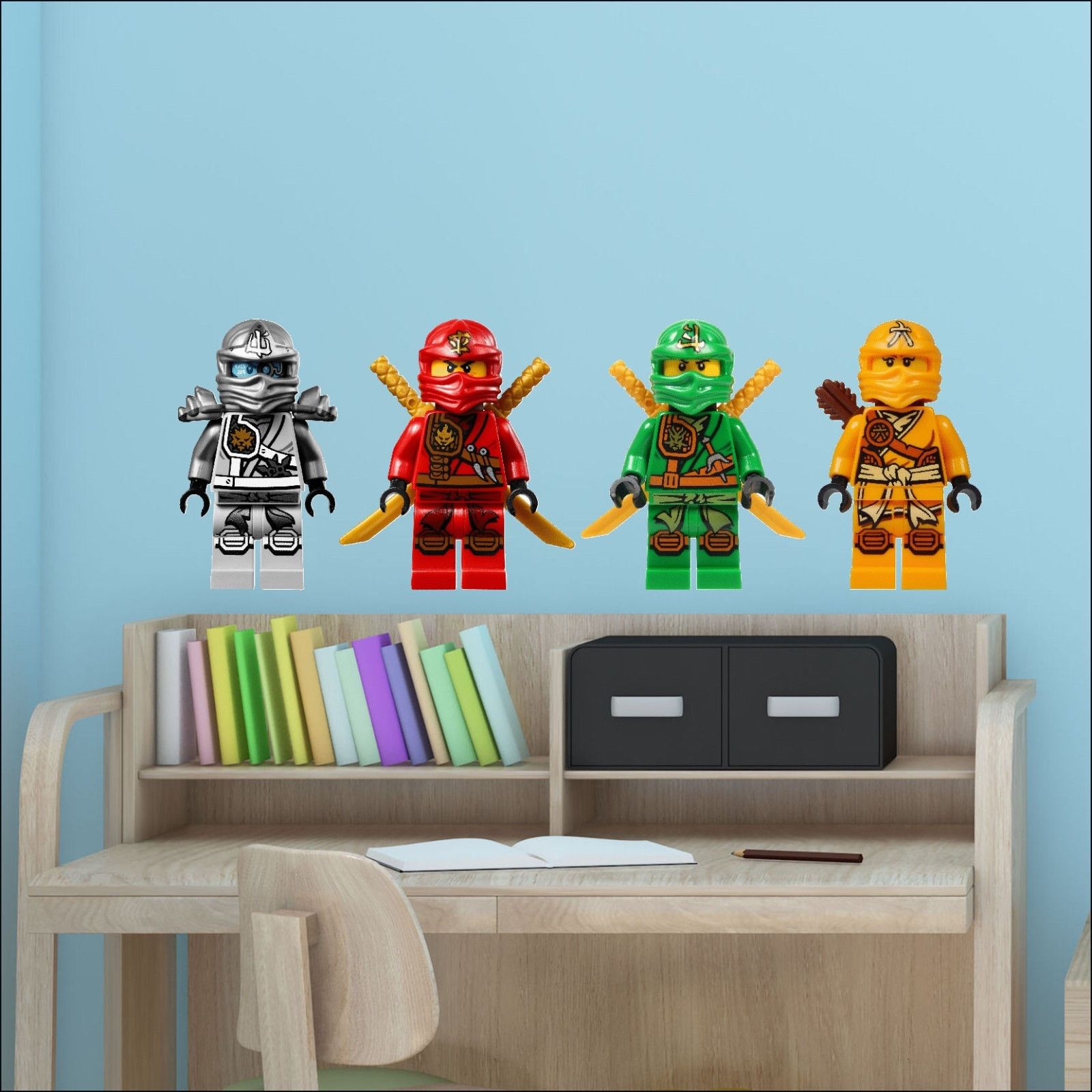4 ninjago lego movie characters colour wall sticker vinyl. Black Bedroom Furniture Sets. Home Design Ideas