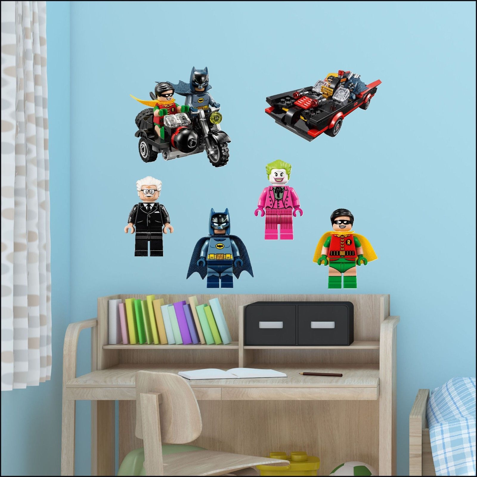 batman movie lego charactors wall sticker transfer individual full set 6 decal bespoke graphics. Black Bedroom Furniture Sets. Home Design Ideas