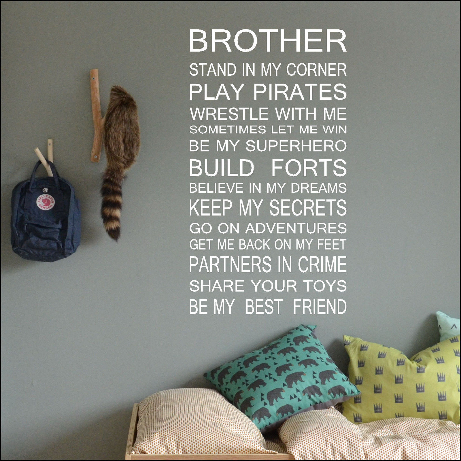 large house rules brother share toys wall art sticker cut matt vinyl