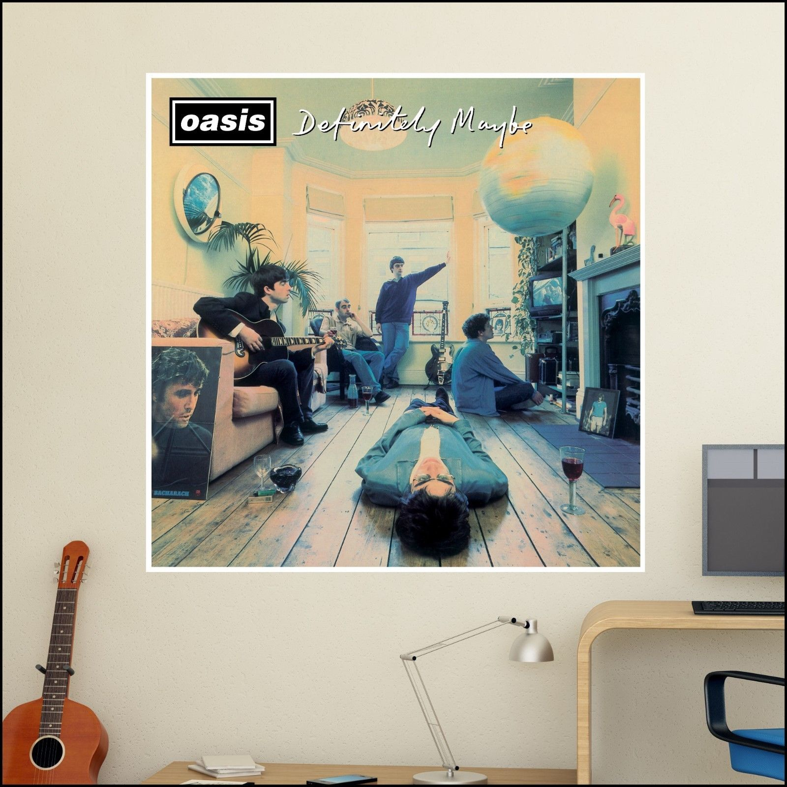 Oasis Definitely Maybe Album Cover Art Wall Sticker 6 Size
