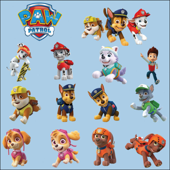Small Paw Patrol Colour Wall Sticker Transfer Decal