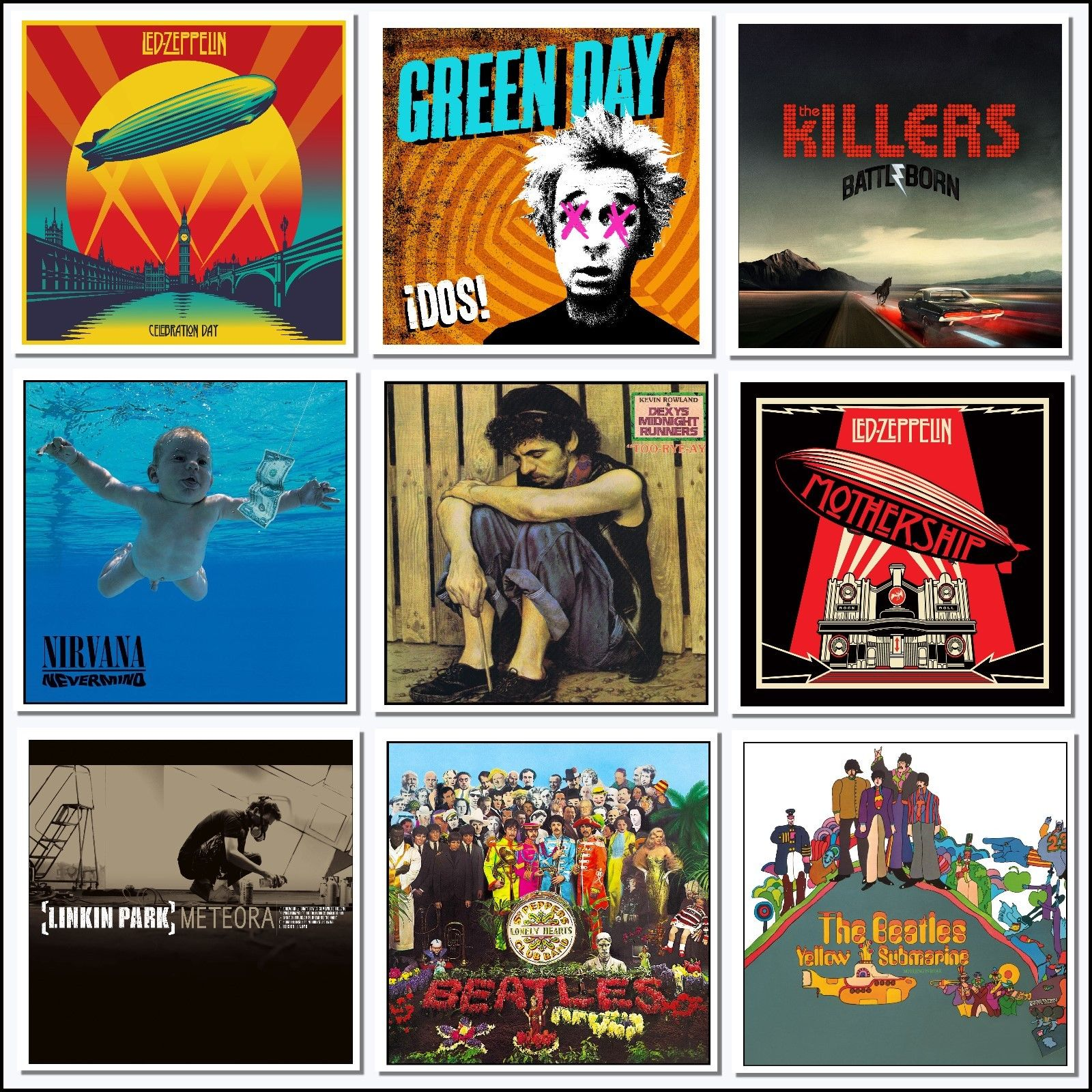 9 Iconic Album Covers Art Wall Sticker Ideal Unusual Gift