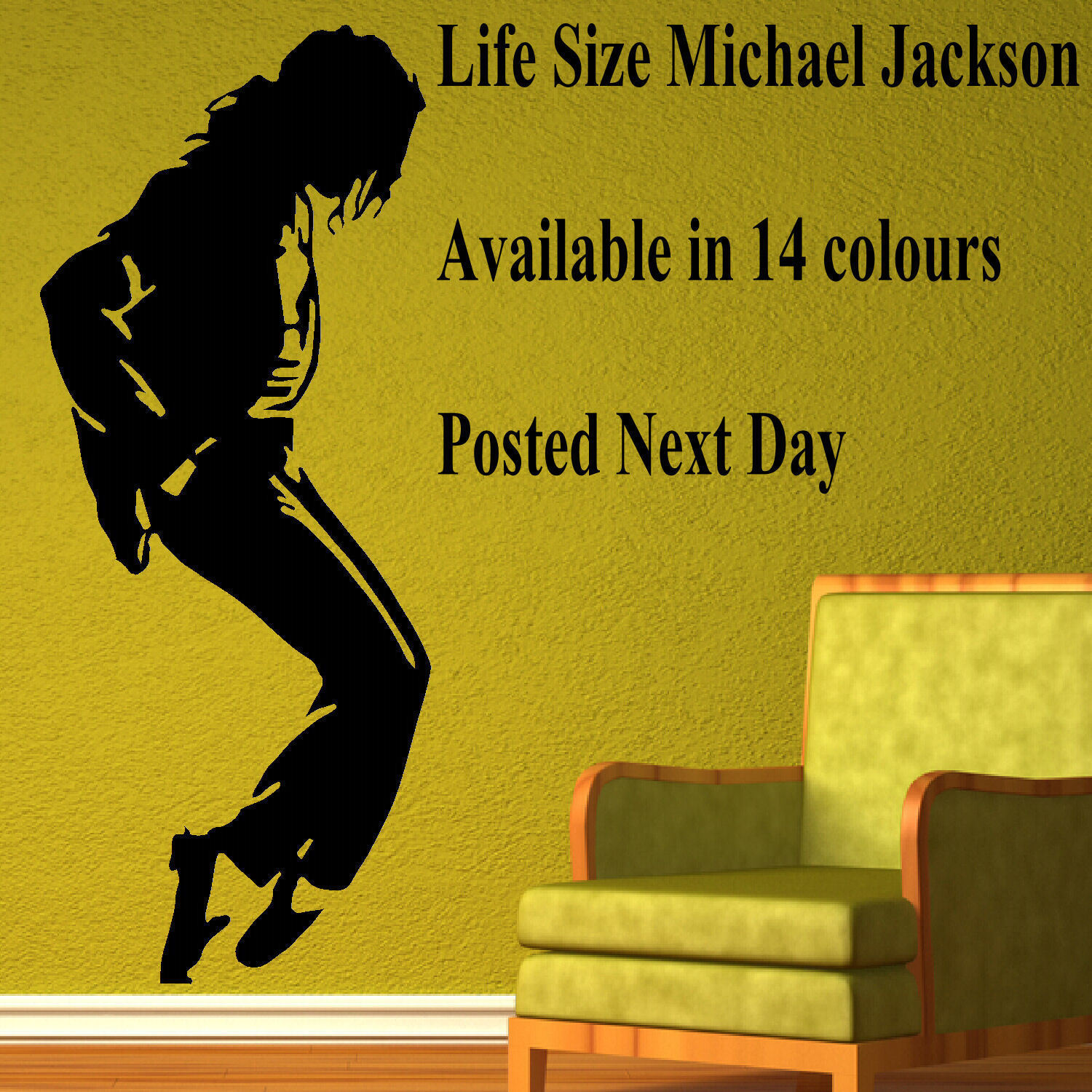 EXTRA LARGE MICHAEL JACKSON ICONIC IMAGE LIFESIZE WALL ART STICKER ...