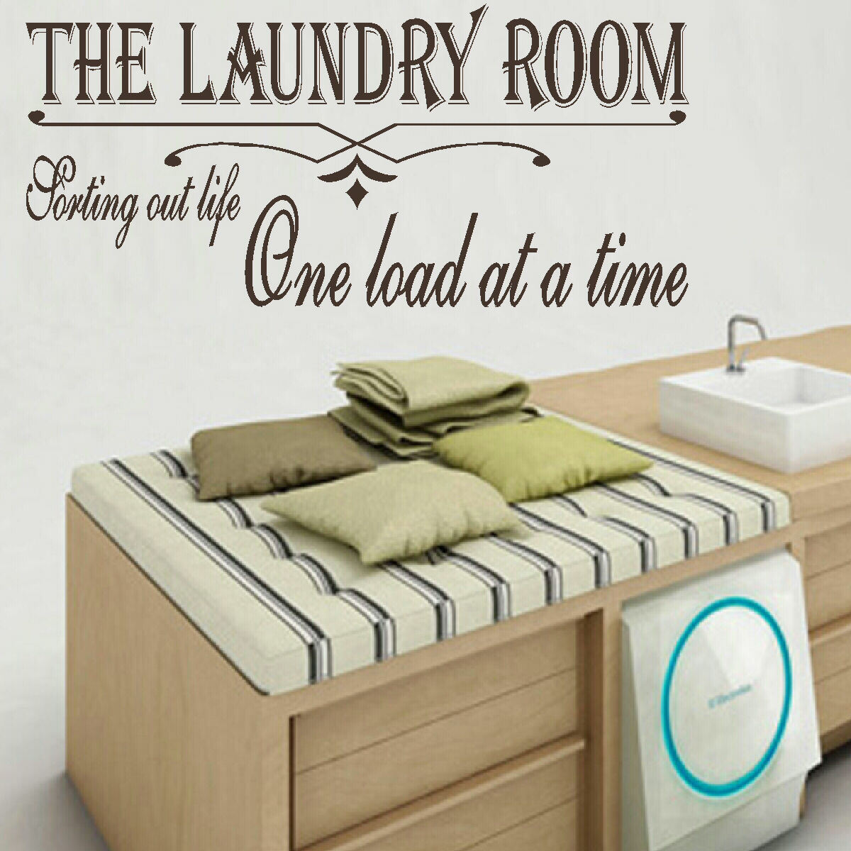 LARGE LAUNDRY ROOM QUOTE SORT LIFE ONE LOAD TIME WALL ART STICKER TRANSFER  DECAL. Quote ... Part 29