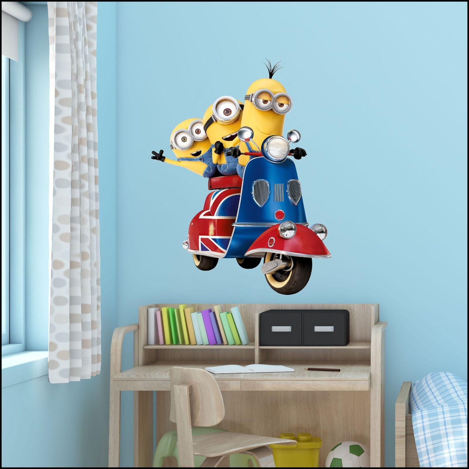 Large Despicable Me 3 Minions On Uk Scooter Vinyl Wall Art Sticker