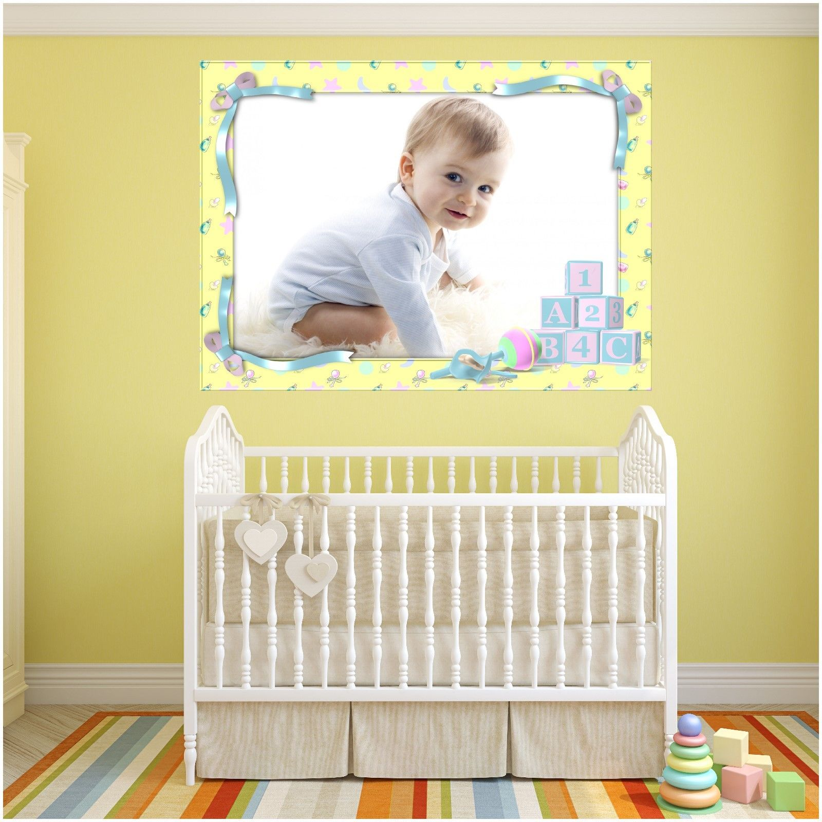 Your Baby\'s Photograph Printed with Frame as wall art sticker 7 size ...
