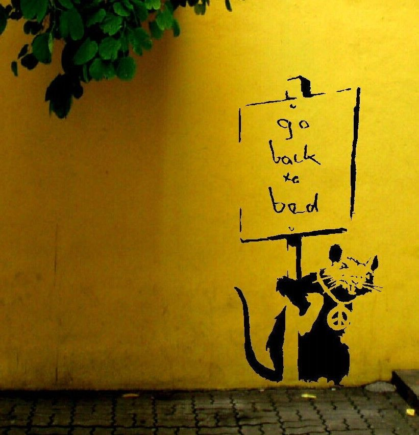 LARGE BANKSY RAT GO BACK TO BED WALL ART STICKER TRANSFER ⋆ Bespoke ...