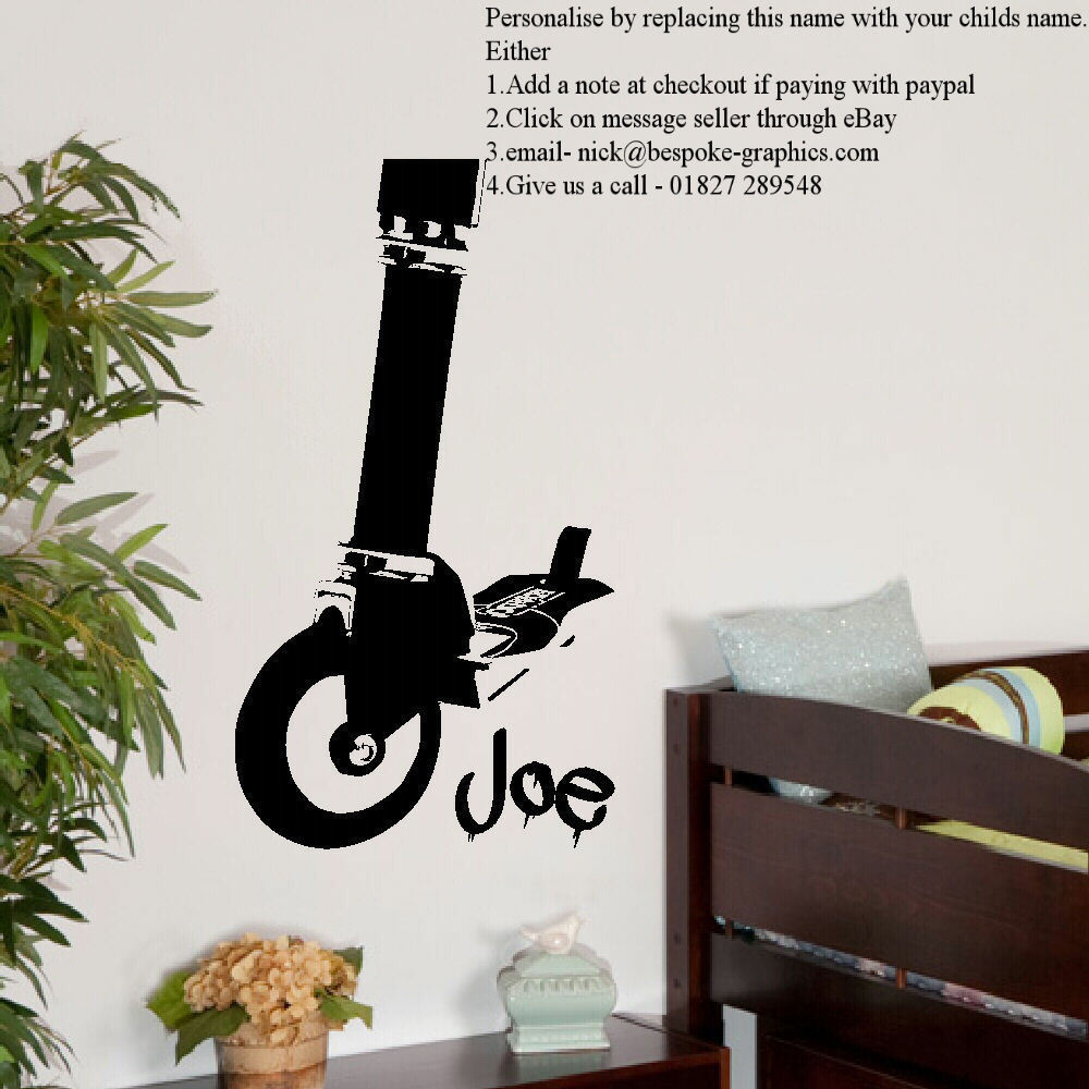 Large personalised stunt scooter childrens art bedroom wall large personalised stunt scooter childrens art bedroom wall sticker vinyl decal 330735357947 amipublicfo Gallery