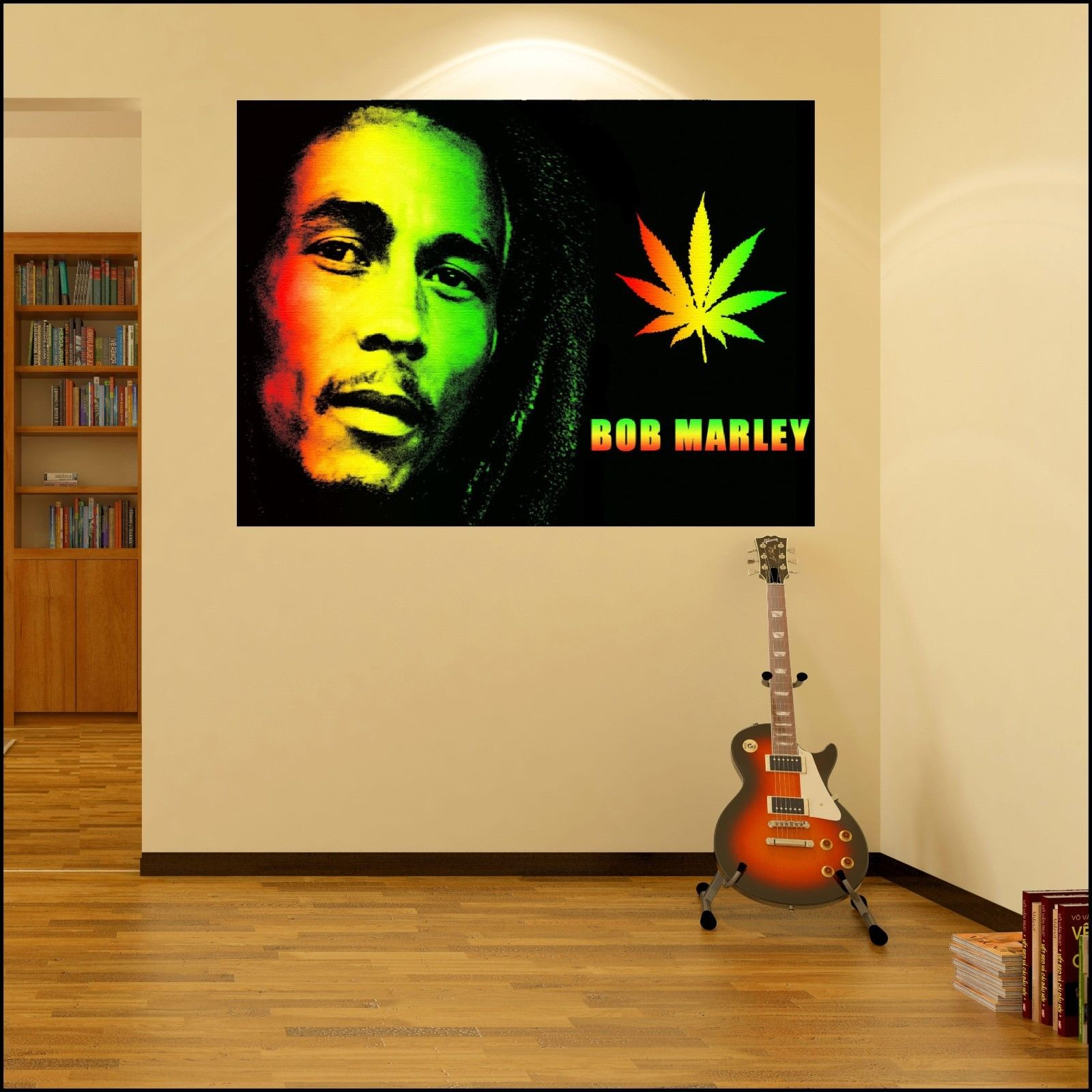 Bob marley colour photo vinyl wall art sticker 6 sizes a4 for Bob marley wall mural