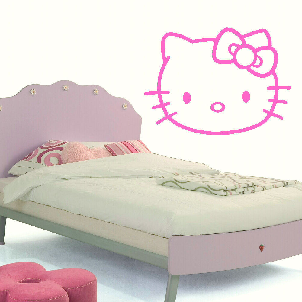 1a5fd4ded LARGE HELLO KITTY CHILDRENS KIDS BEDROOM WALL MURAL STICKER TRANSFER VINYL  DECAL. Childrens Wall Art