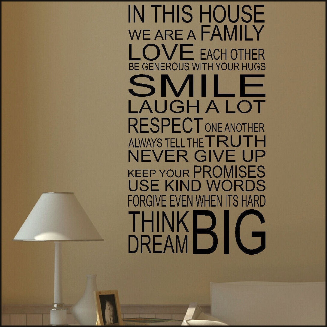 LARGE HOUSE RULES WALL STICKER QUOTE IN THIS FAMILY LOVE SMILE NEW UK  TRANSFER. Quote ... Part 52
