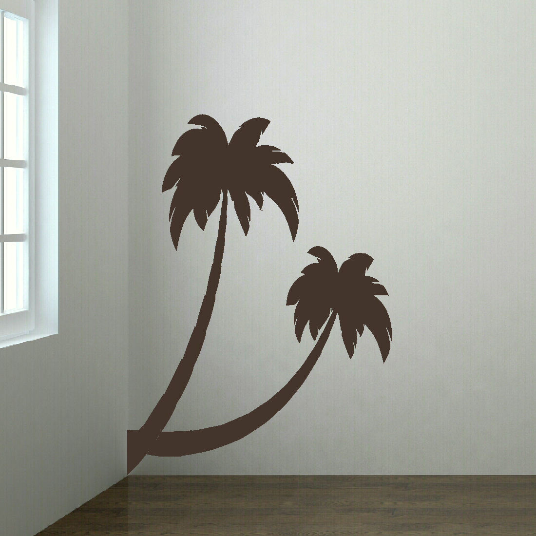Large palm tree beach hall bedroom wall art mural giant - Sticker geant mural ...