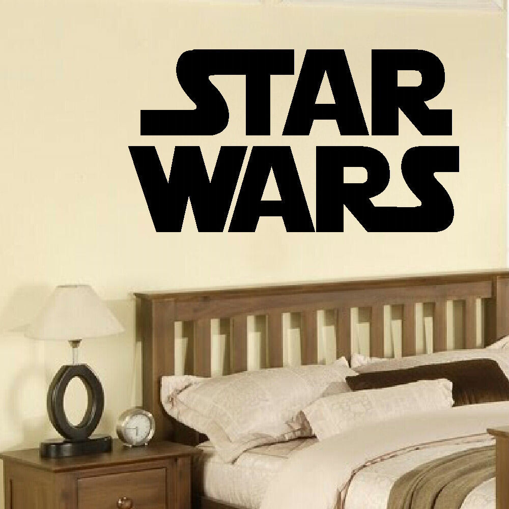 Large star wars starwars logo childrens bedroom wall mural for 8 sheet giant wall mural