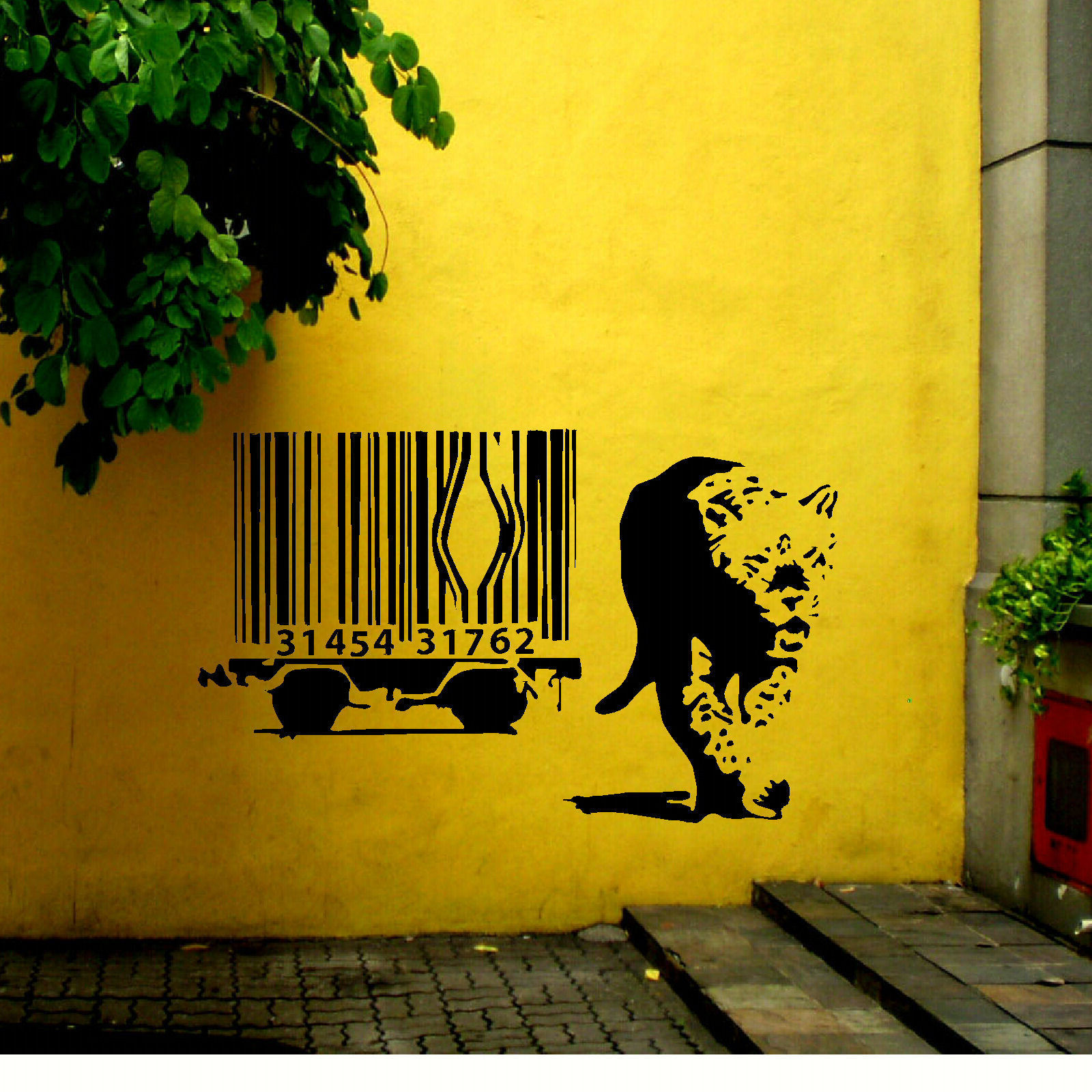 EXTRA LARGE BANKSY LION BARCODE ESCAPE WALL ART STICKER TRANSFER ...
