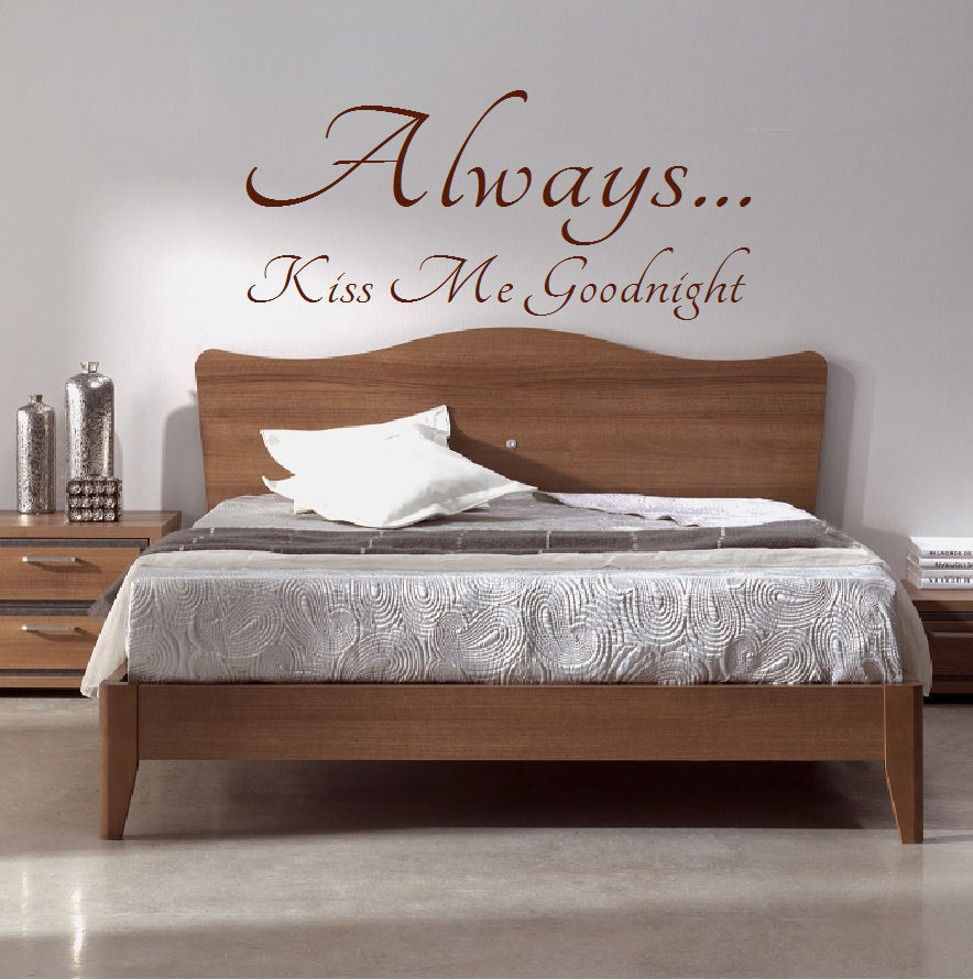 Extra Large Bedroom Quote Always Kiss Me Goodnight Wall Sticker Decal Transfer Bespoke Graphics