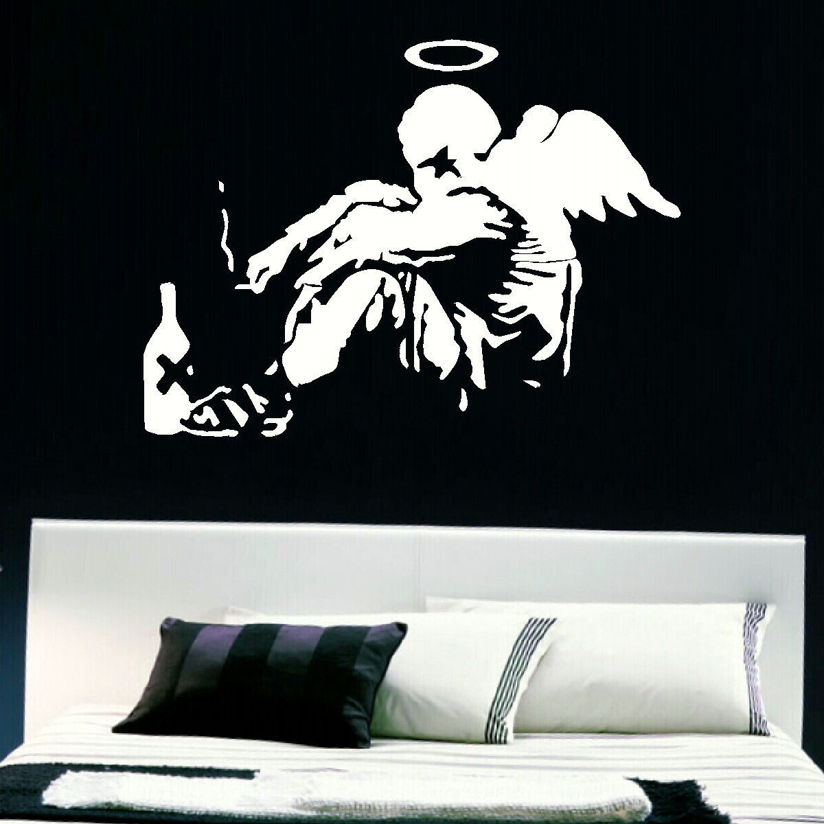 Large wall art banksy fallen angel sticker transfer giant mural uk giant mural uk post banksy amipublicfo Gallery