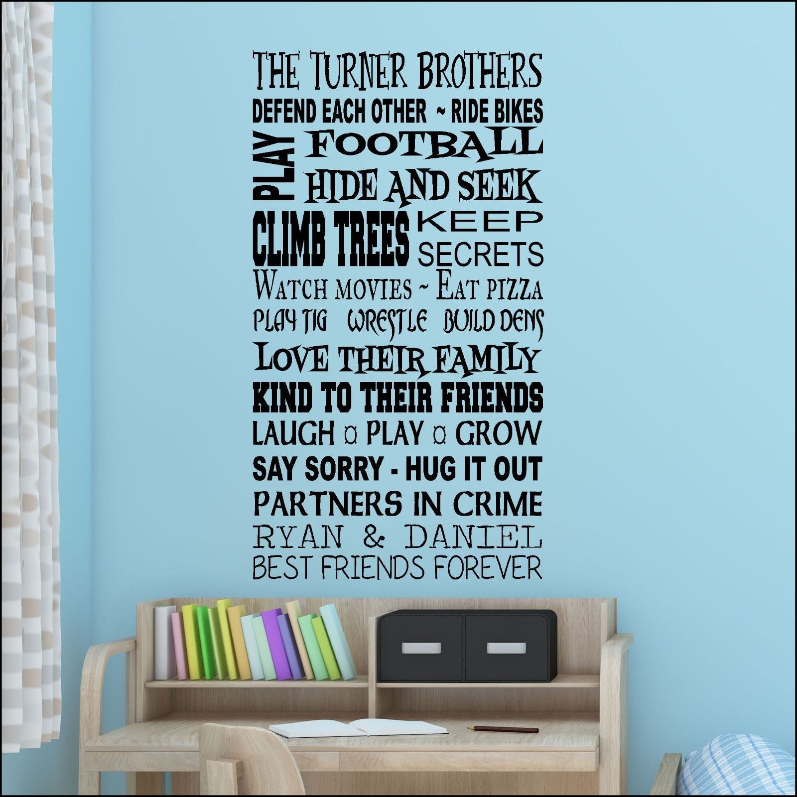 BROTHERS THAT PLAY TOGETHER PERSONALISED WALL ART DECAL VINYL STICKER