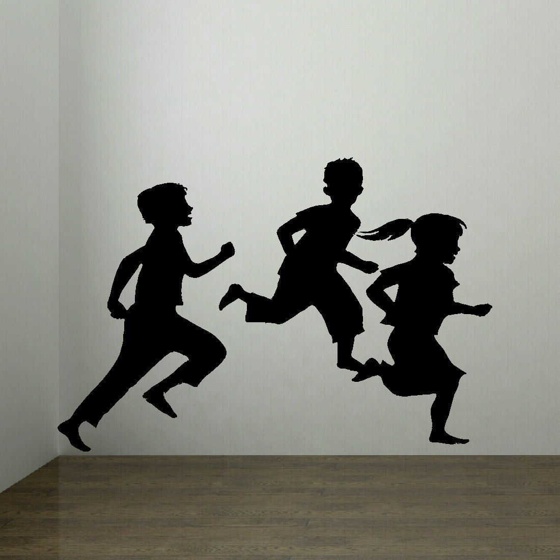 Silhouette Of Children Playing Play Room School Wall